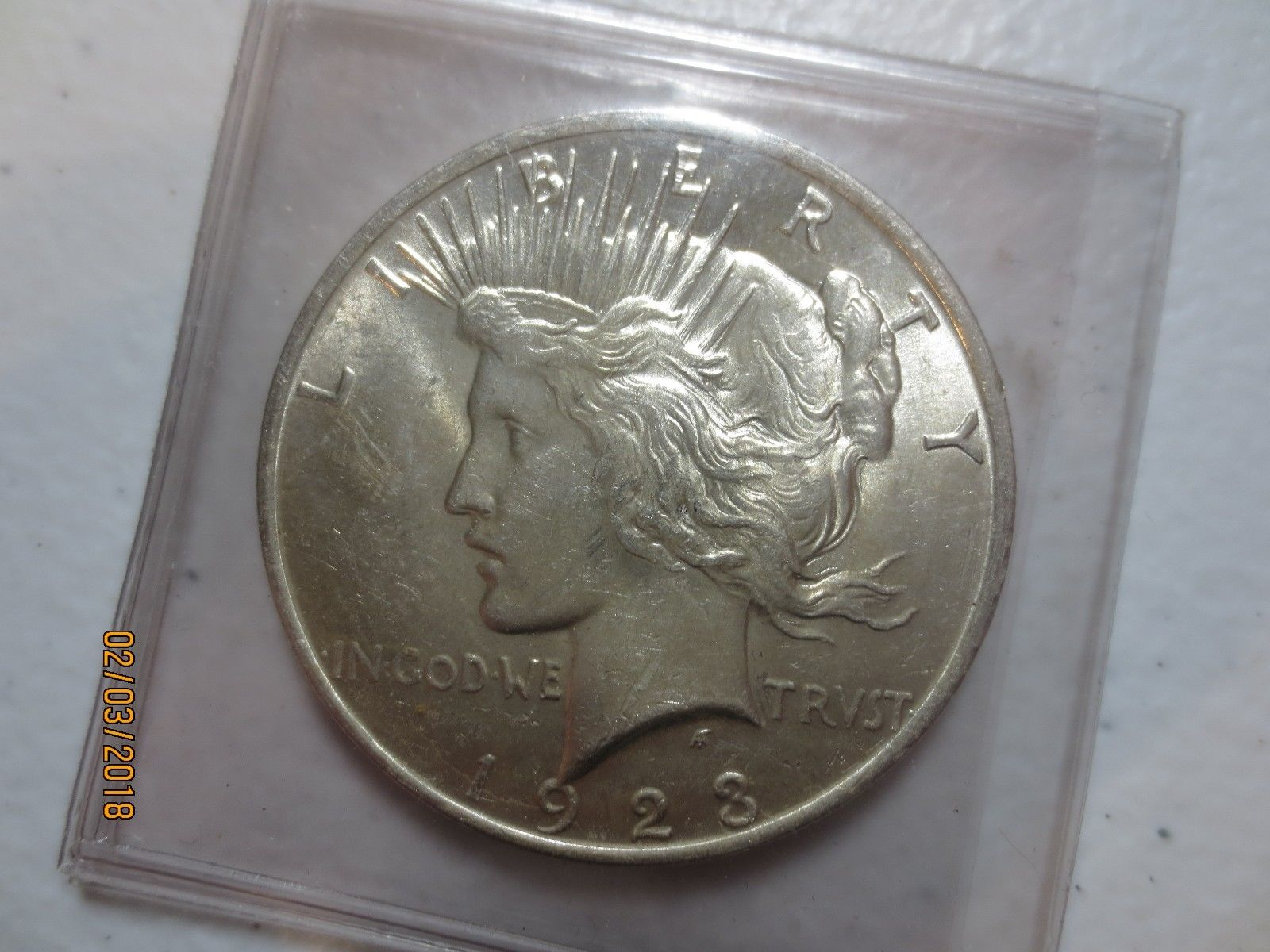 1923 gem bu condition silver peace dollar toned